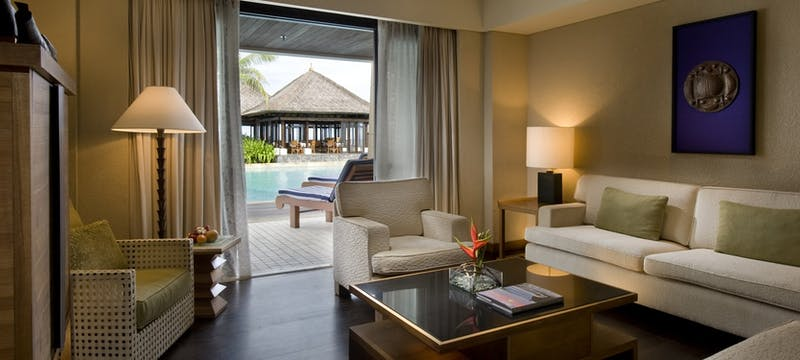Lagoon suite living room at Conrad Bali Resort & Spa