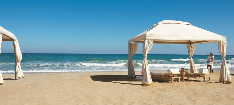 The beach at Amirandes Grecotel Exclusive Resort, Crete, Greece