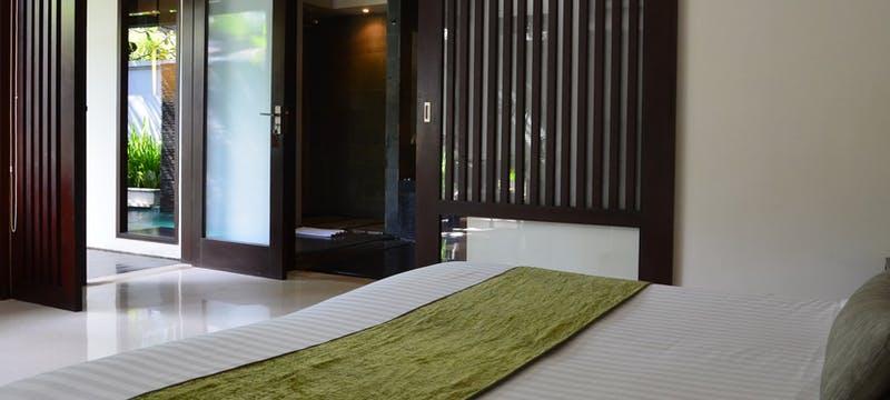 Pool villa bedroom  at The Amala, Bali