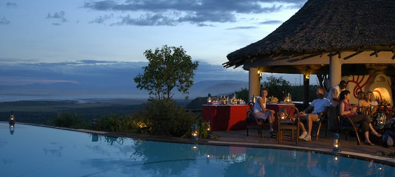 Cocktails by the pool at Lake Manyara Serena Safari Lodge