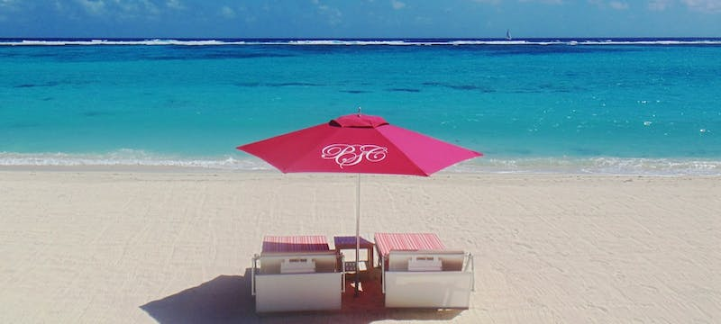 Serene beach area at Pink Sands Club
