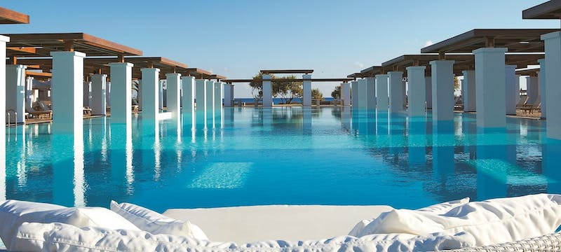 Olympic sized swimming pool at Amirandes Grecotel Exclusive Resort, Crete, Greece