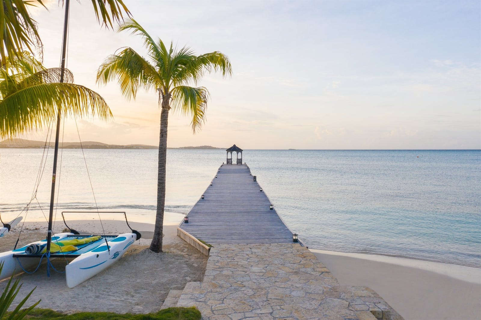 Beautiful jetty at Jumby Bay Island, Antigua, Caribbean