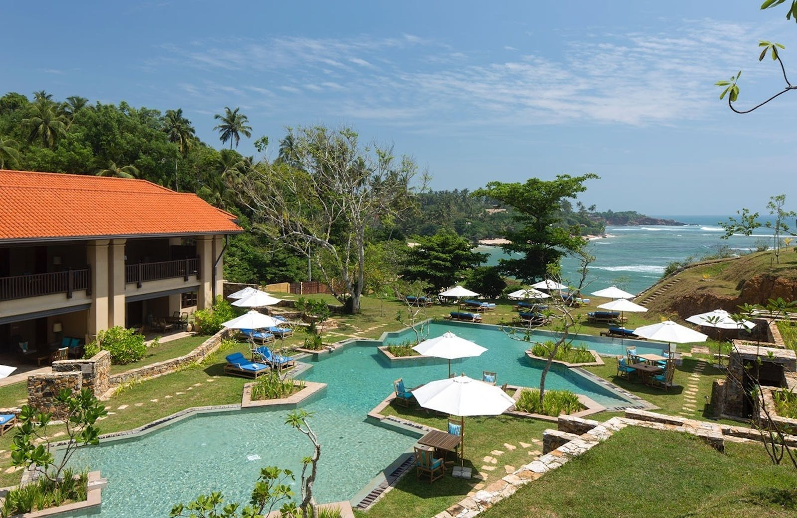 Aerial shot of the pool at Cape Weligama