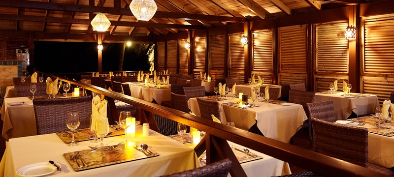 Elegant evening dining at Nisbet Plantation Beach Club, Nevis