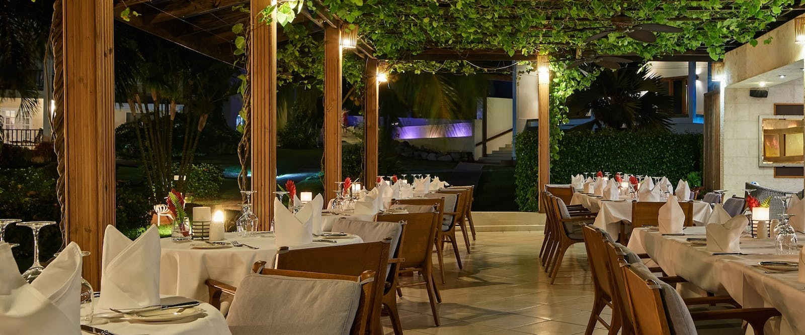 Elegant yet casual dining at Rhodes restaurant at Calabash Luxury Boutique Hotel & Spa, Grenada