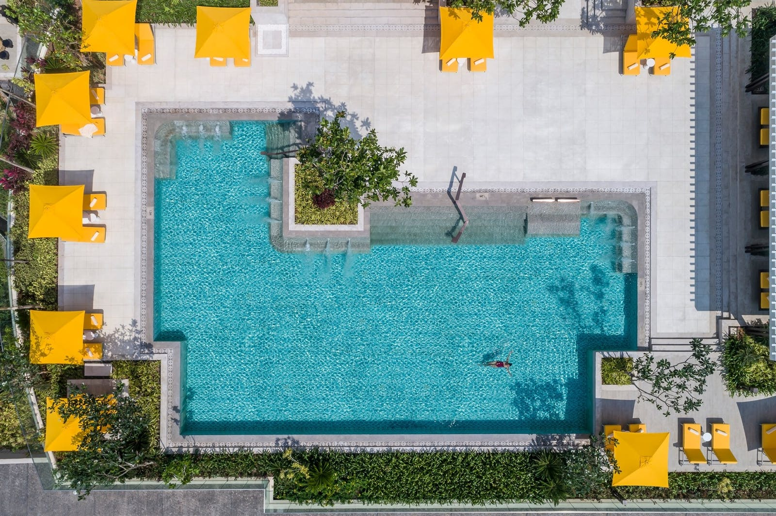 Aerial View of Pool Area, Shangri-la Hotel, Colombo, Sri Lanka