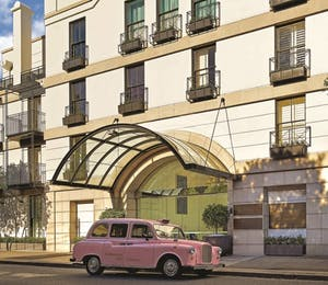 Exterior with pink taxi, The Langham, Sydney