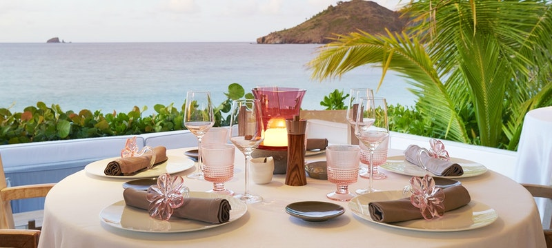 Restaurant with beach view at Cheval Blanc St Barth Isle de France