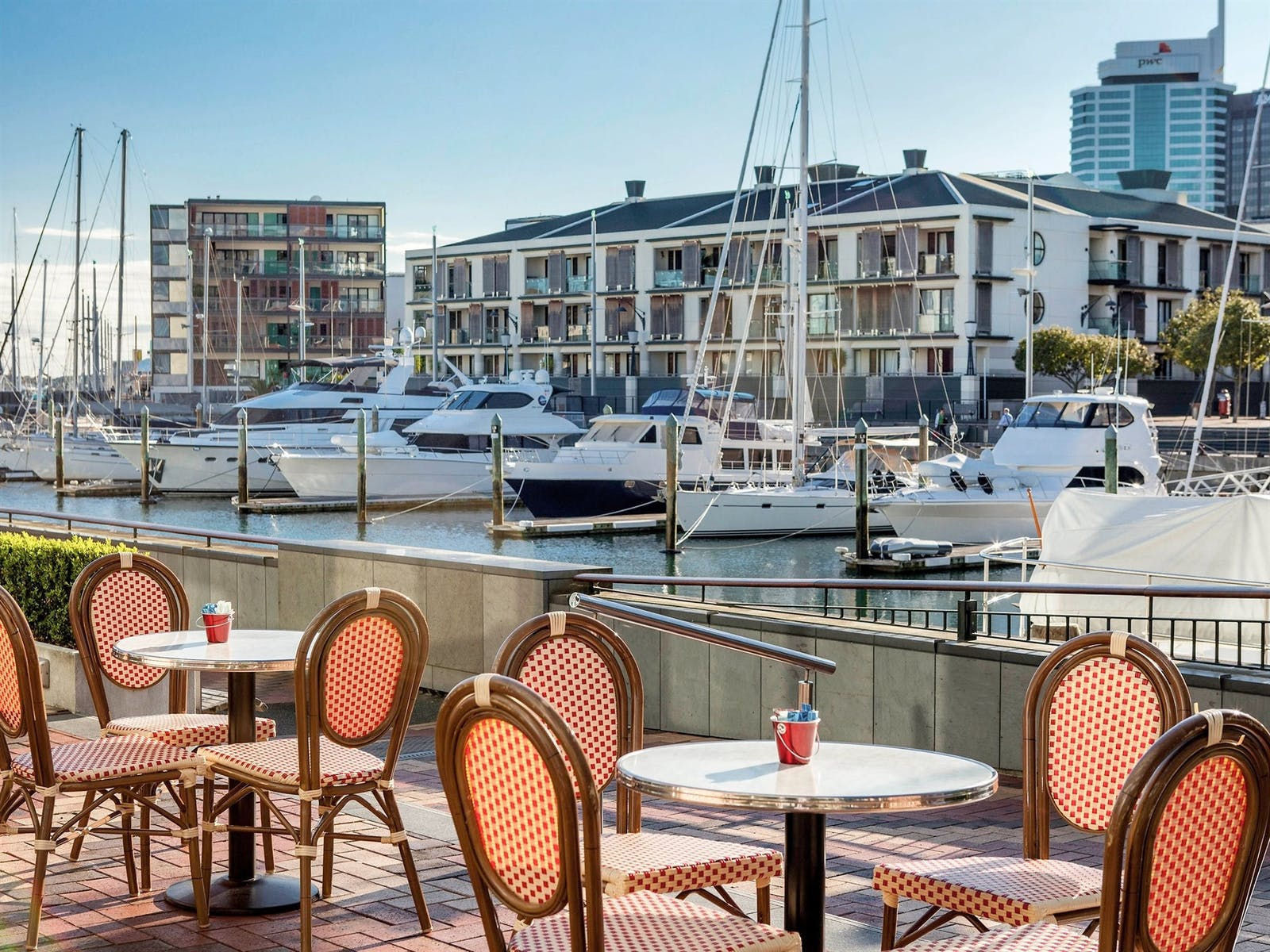 viaduct cafe with french chairs at sofitel auckland viaduct harbour auckland