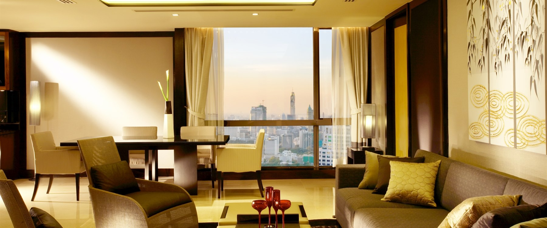 Grand suite living area at  at Banyan Tree Bangkok
