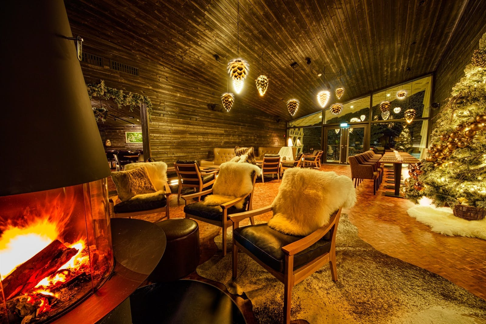 Lounge at Rakas Restaurant and Bar, Arctic Treehouse Hotel, Finland