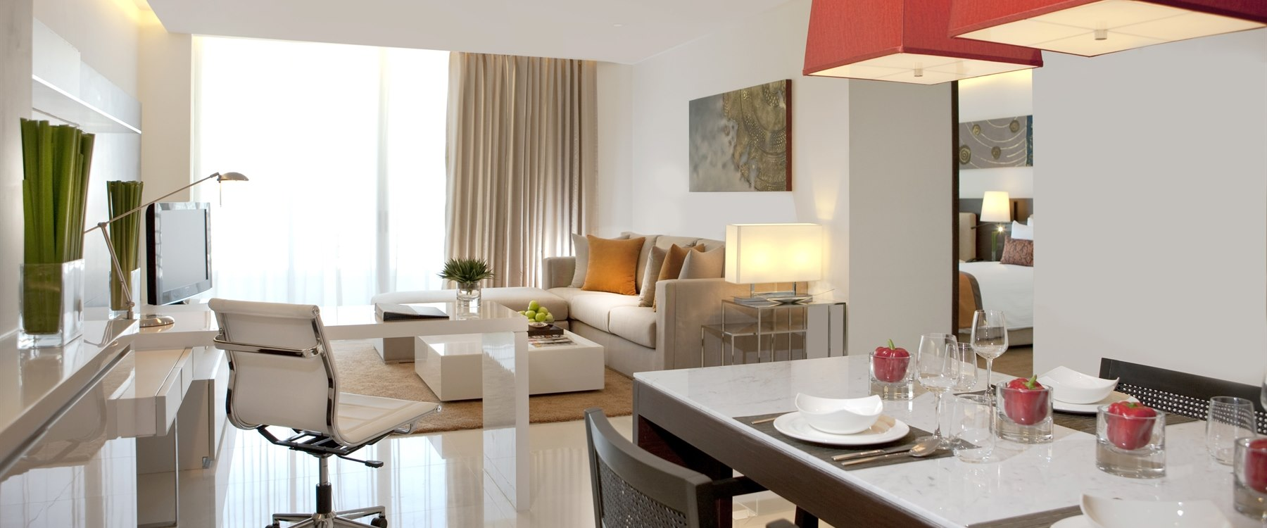 Two bedroom suite dining area at Anantara Bangkok Sathorn