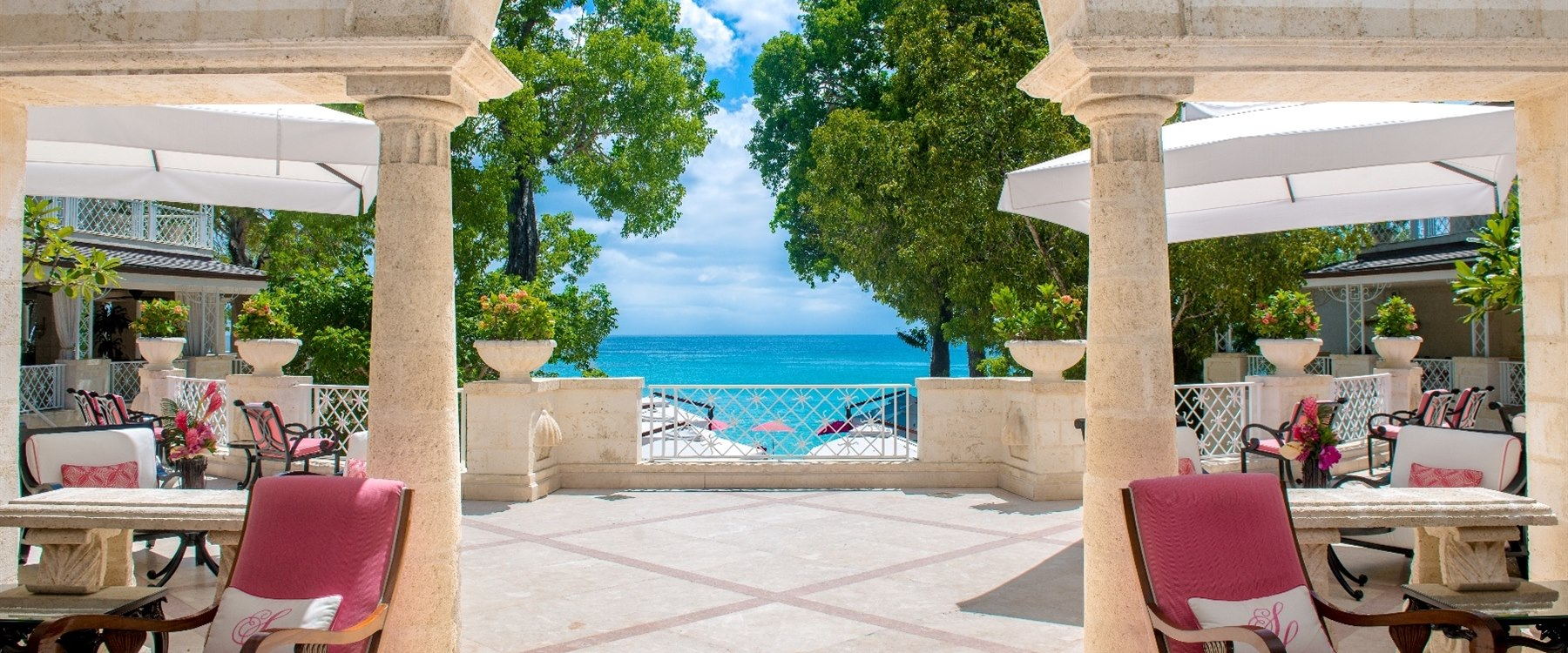 picturesque view from the reception at sandy lane barbados