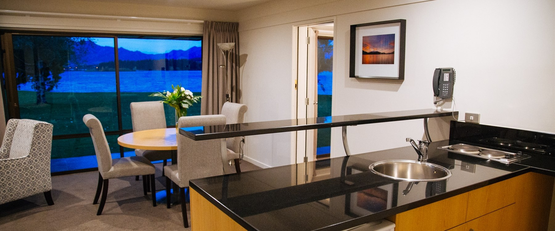 Suite Kitchenette with dining area at Edgewater