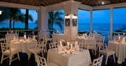 Dining restaurant overlooking the ocean at Round Hill, Jamaica