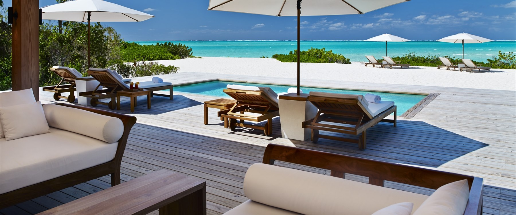 Two bedroom beach house pool deck at COMO Parrot Cay, Turks and Caicos