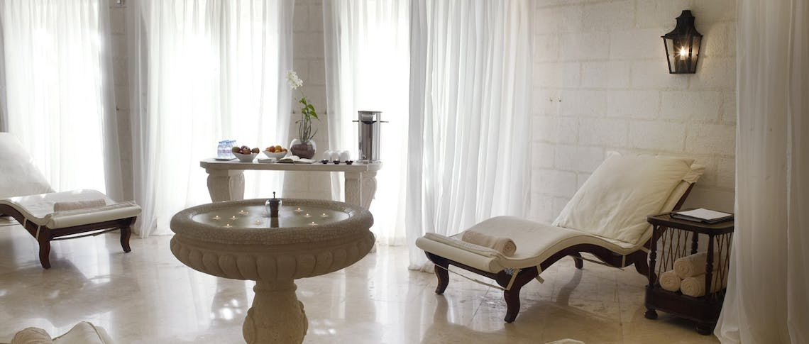 The relaxation room within the spa at Sandy Lane, Barbados