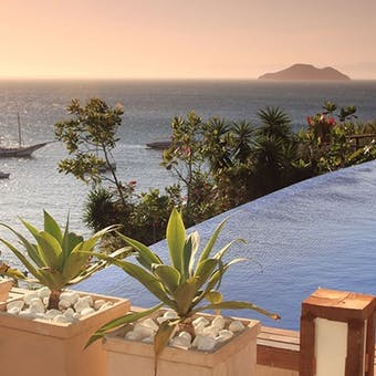 Infinity pool overlooking the bay at Pousada Abracadabra, Brazil