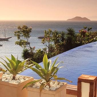 Infinity pool overlooking the bay at Pousada Abracadabra, Brazil