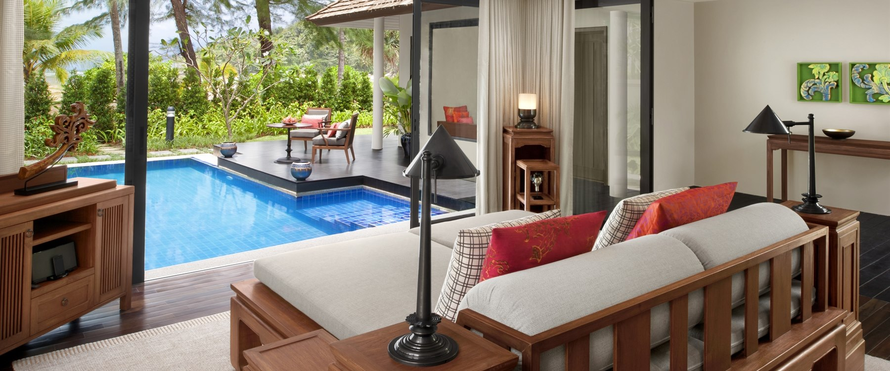 Beachfront Pool Villa Living Room at Anantara Layan Phuket Resort, Thailand