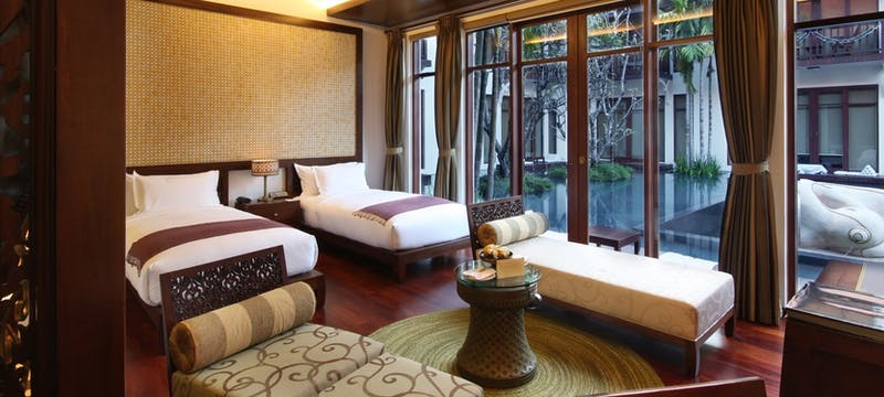 Premium deluxe room twin bed with view at Anantara Angkor Resort, Cambodia