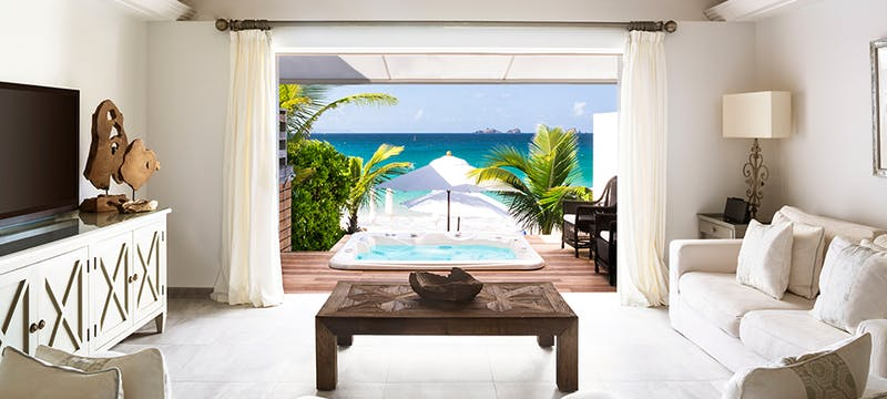 Beach Suite Living Room at Cheval Blanc St Barth Isle de France