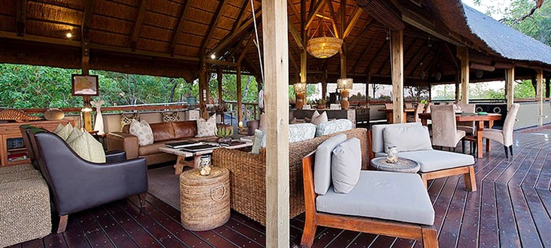 Multi-decked lounge at Chitabe Camp, Bostwana