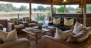 Luxury multi-decked lounge at Chitabe Camp, Bostwana