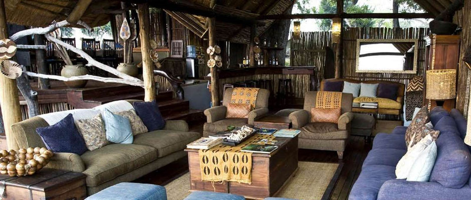 Luxury thatch-roofed lounge at Duba Plains Camp, Bostwana