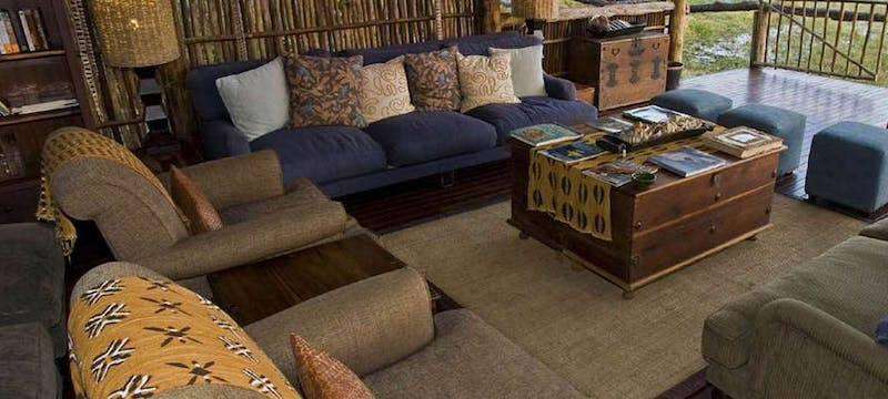 Thatch-roofed lounge at Duba Plains Camp, Bostwana
