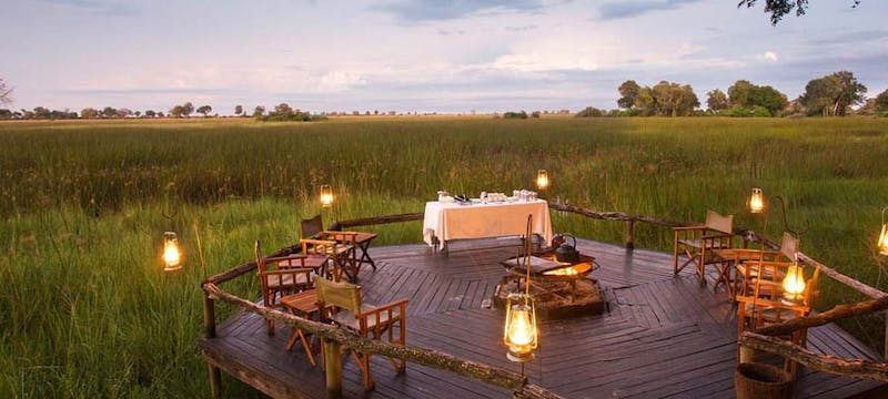 Multi-decked lounge at Duba Plains Camp, Bostwana
