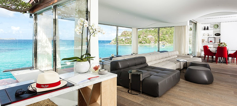 Interior and Sea Veiw at Christopher Columbus Suite at Eden Rock St