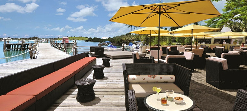 Terrace area next to the shoreline at Fairmont Southampton, Bermuda