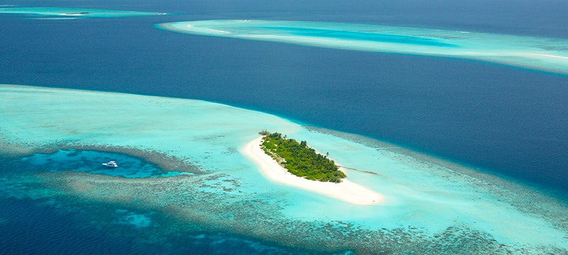 Aerial View at Four Seasons Private Island Maldives at Voavah