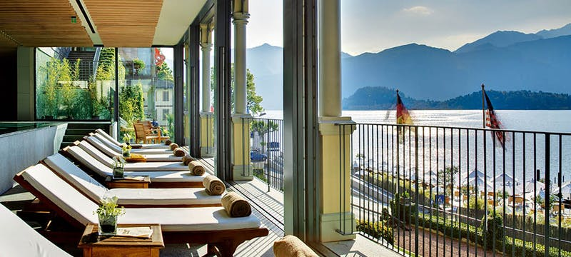 Sun loungers at Grand Hotel Tremezzo, Lake Como