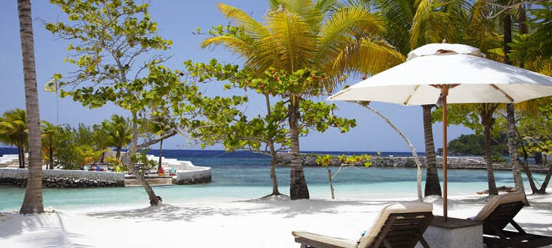 Relax along the beach at GoldenEye, Jamaica