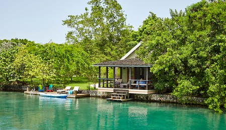Relax next to the lagoon at GoldenEye, Jamaica