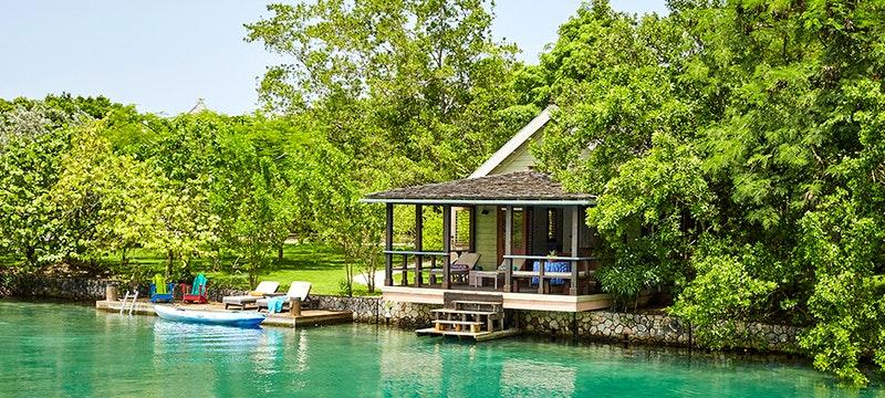 Relax next to the lagoon at GoldenEye, Jamaica