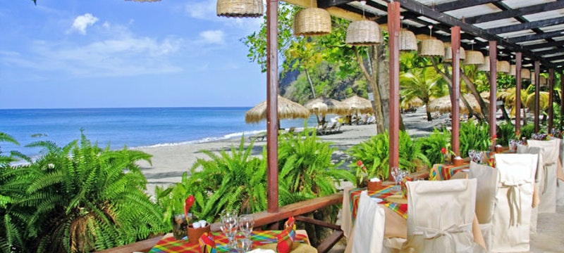 Beach-side dining at Anse Chastanet, St Lucia