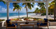 Enjoy alfresco dining at Jumby Bay Estate Homes, Antigua