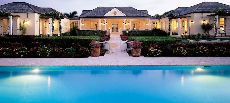 The beautiful exterior of a villa at Jumby Bay Estate Homes, Antigua