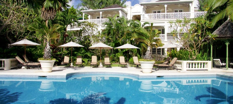 The relaxing pool area at Coral Reef Club, Barbados
