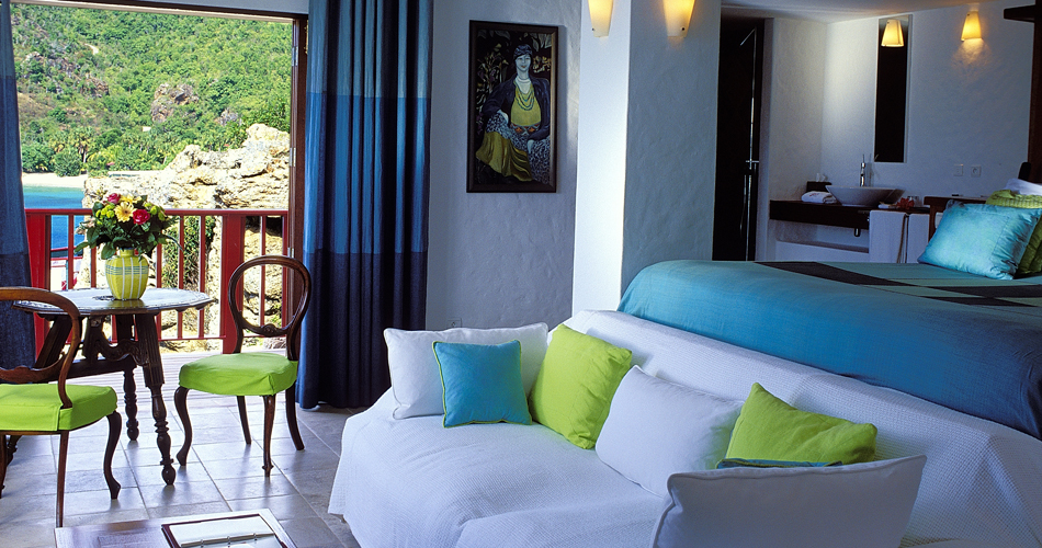 Bedroom with ocean view at Eden Rock, St Barths