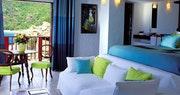 Bedroom with ocean view at Eden Rock, St Barths