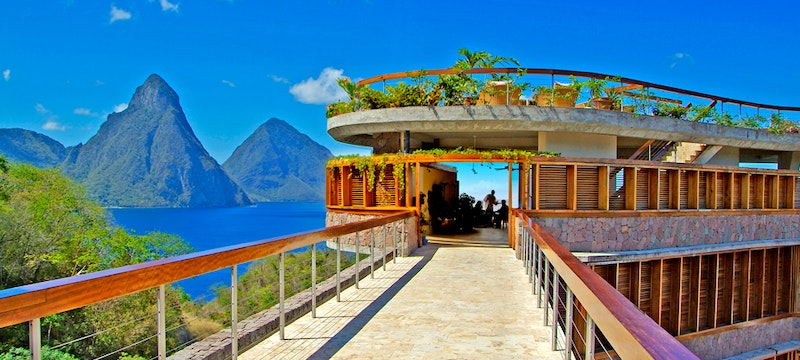 Bridge leading to the restaurant at Jade Mountain, St Lucia