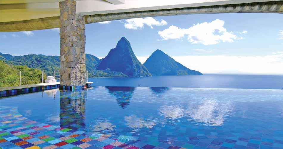 Infinity pool looking out over the mountains at Jade Mountain, St Lucia