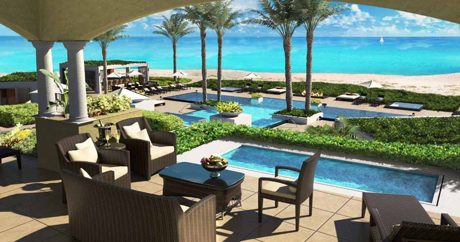 Elevated Pool and Beach View at Grace Bay Club, Turks And Caicos