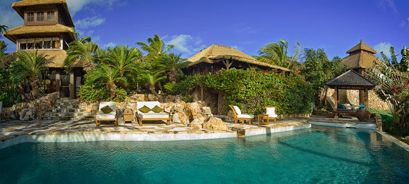 Pool area at Necker Island, British Virgin Islands