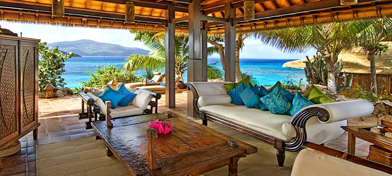 Living room area at Bali House Necker Island, British Virgin Islands